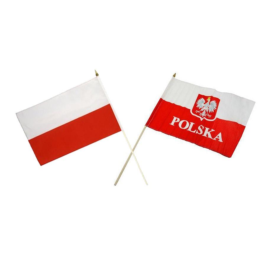 Flaga POLSKA  30x40 cm z uchwytem drewnianym mix