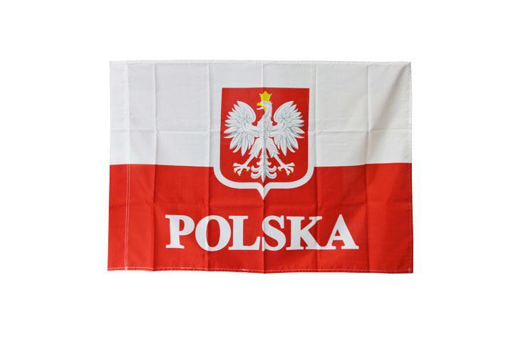 Flaga POLSKA  duża 110 x80 z godłem